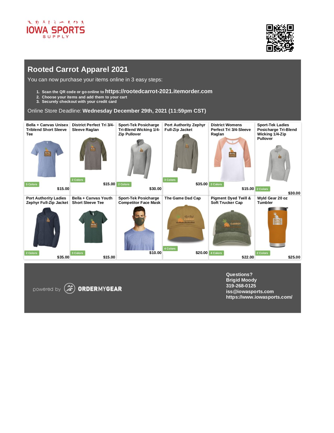 View of T-Shirts, Jackets, Hats and Cup with Rooted Carrot Logo